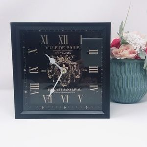 "Paris Clock Black Metal 8"" x 8"" x 4"""